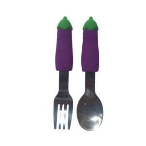 Aubergine Fruit and Vegetable Stainless Steel Kids Cutlery Fork and Spoon