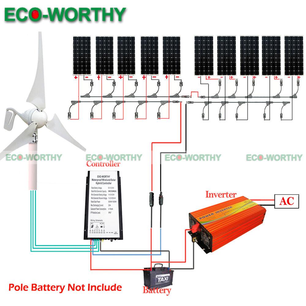 700watt Hybrid Kit 400w Wind Turbine Generator 300w Solar Panel For Diagram As Well Power System In Addition Grid Tie 24v Ebay