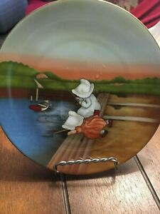 SUN-BONNET-BABIES-LIMITED-EDITION-ROYAL-BAYREUTH-GERMANY-1974-SUNDAY-FISHING