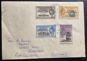 1956-Falkland-Islands-Trans-Atlantic-Expedition-Stamps-Cover-To-Johnstone-Scotla