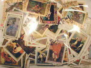 Paintings on Stamps Collection - 1,000 Different Stamps