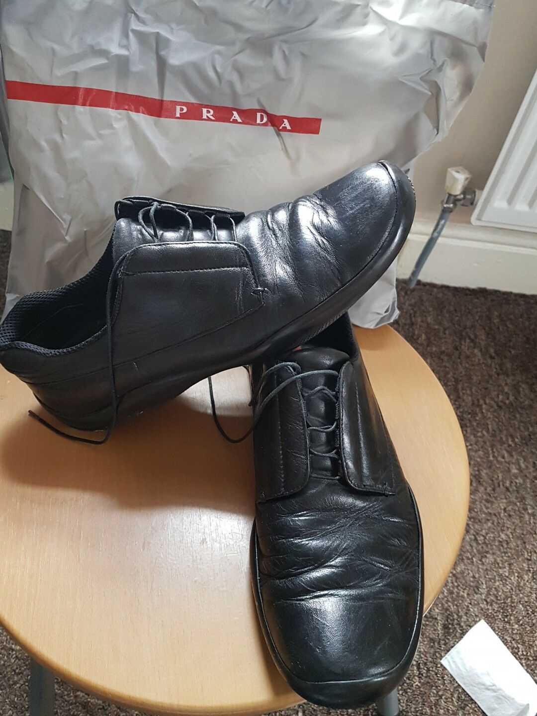 Men Prada Leather zapatos Excellent talla 10.5 Eu 45 Excellent zapatos Condition Authentic  475 5898e9