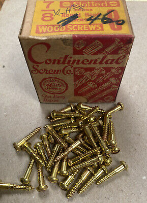 """8 X 7//8"""" Slotted Round Head SOLID BRASS Wood Screws NOS Vintage LOT of 50"""