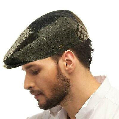 SK Hat shop Mens Winter 100/% Soft Wool Earflaps Plaid Ivy Driver Cabby Cap Hat Navy