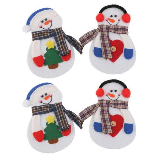 4x Merry Christmas Snowman Tableware Silverware Suit Dinner Party Decor