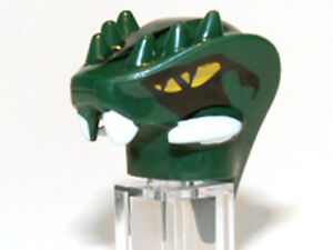 LEGO-Minifig-Head-Snake-with-Horns-amp-Black-Scales-Pattern-Lizaru-Green
