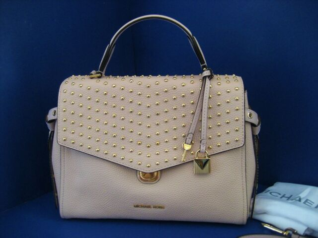 ecf64d5c2f27 NWT Michael Kors Bristol Top Handle Medium Studded Leather Satchel Soft Pink
