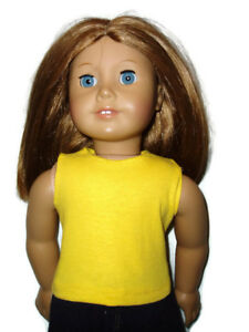 Bright-Yellow-Tank-Top-T-Shirt-18-inch-Doll-Clothes-fits-American-Girl-Dolls