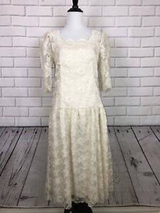 Vintage-LANZ-ORIGINALS-Ivory-White-Lace-Dress-80-s-Puff-Sleeve-Sz-10-Made-In-USA