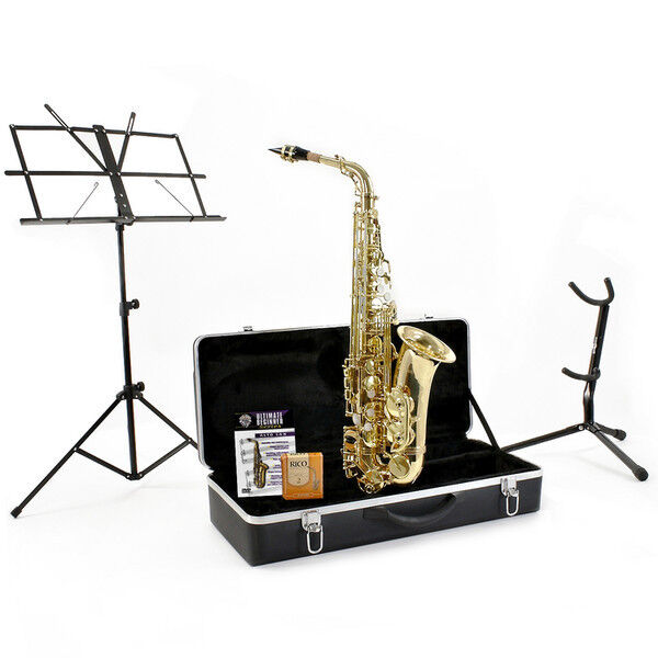 New Alto Saxophone, Gold Complete with Accessories by Gear4music