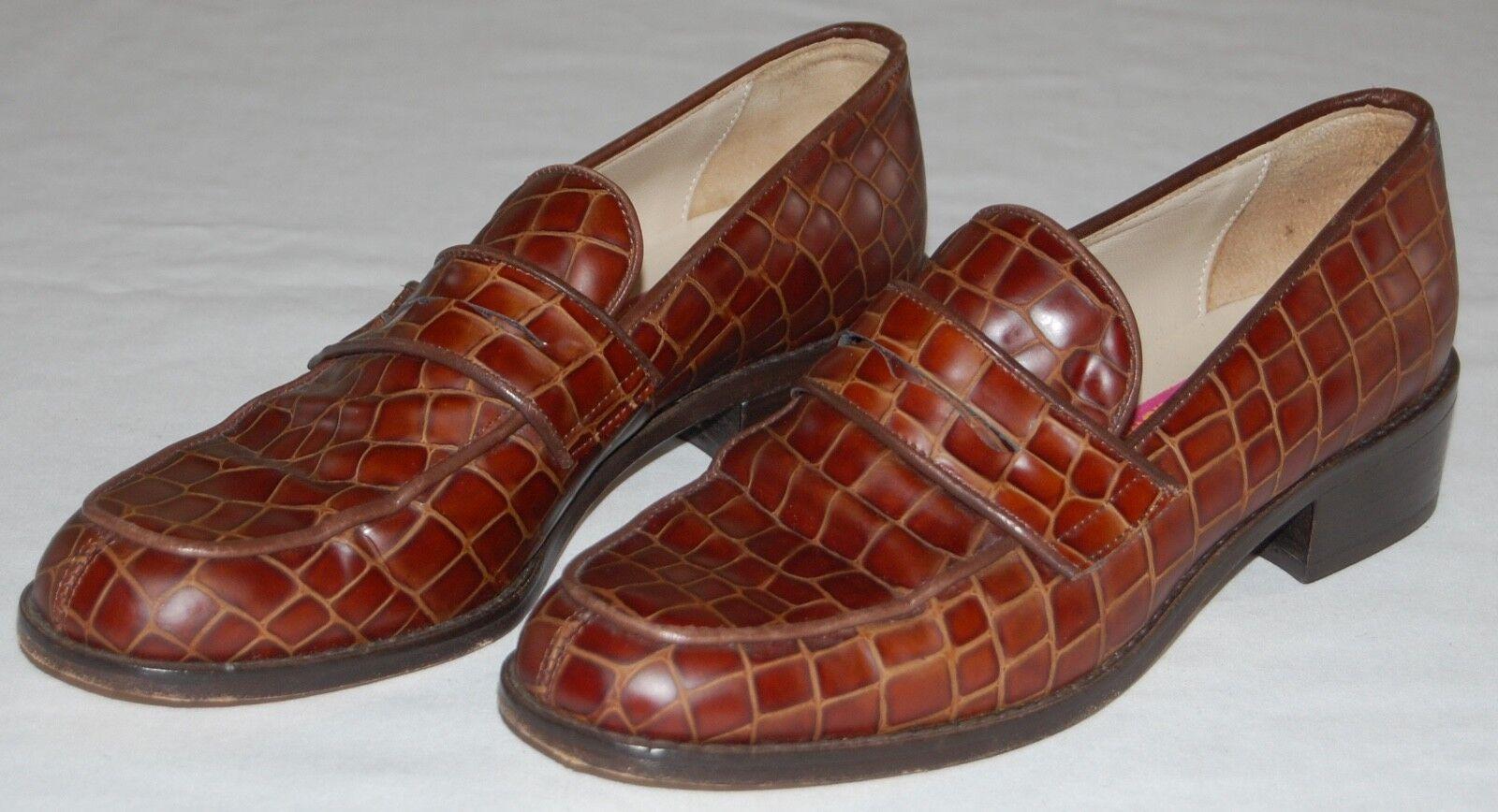 Pret Susan Bennis Warren Edwards marrone Alligator Loafers Donna Italy 37.5/US 7