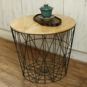 Side Table With Storage.Details About Retro Black Metal Wire Round Wood Top Storage Side Table Basket Home Furniture