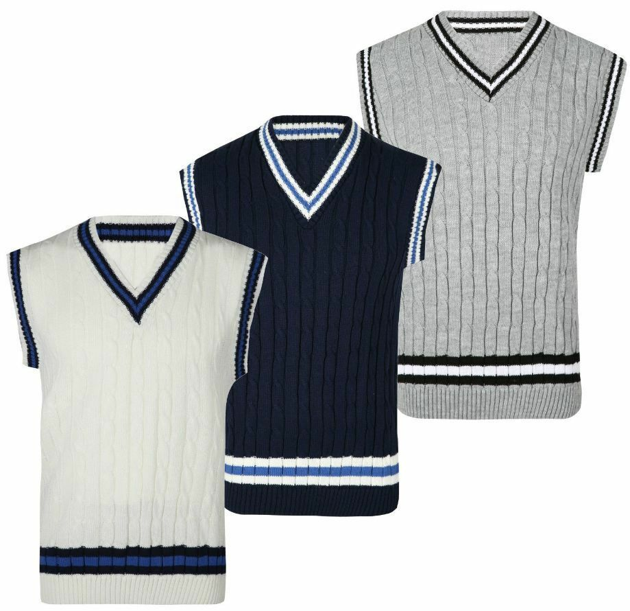 Adults Cricket Cable Knitted Sleeveless Jumper Vest Mens Fancy V Neck Sweater