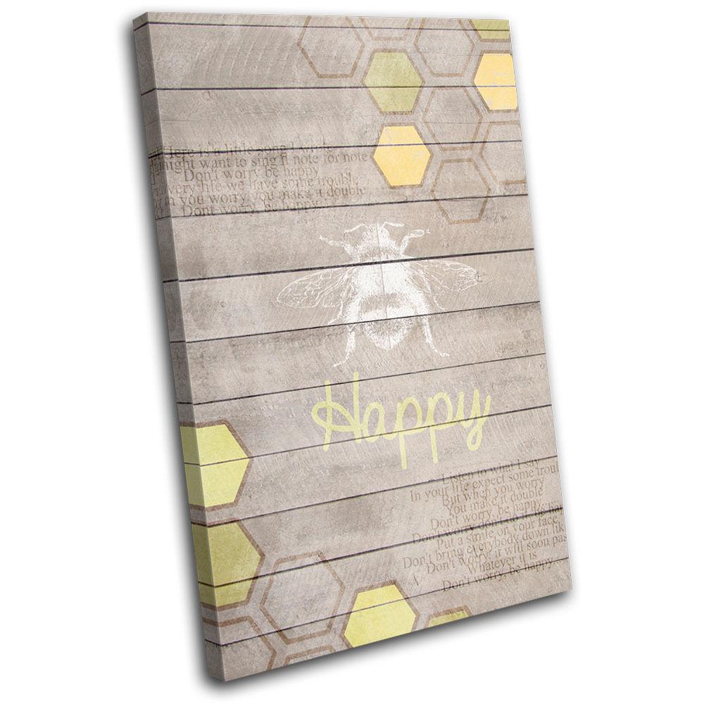 Bee Happy Geometric  Typography SINGLE TELA parete arte foto stampa