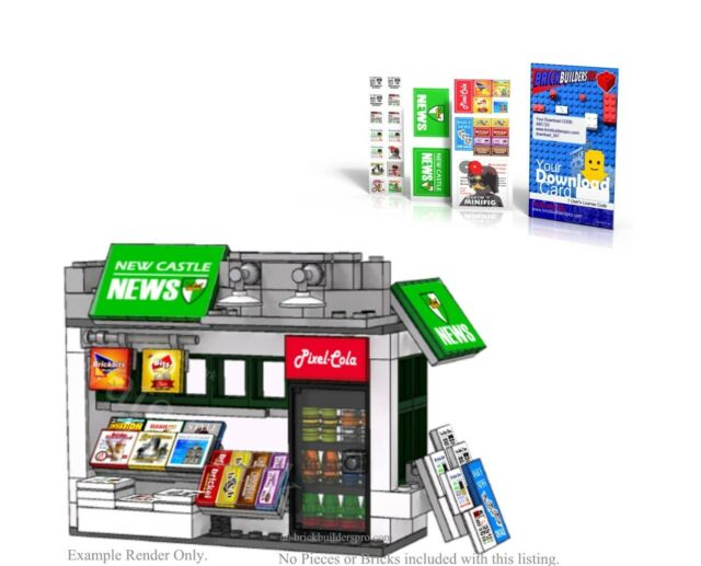 Pdf Stickers Lego Custom Newsstand Instructions City Easy Decal