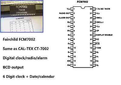 1 FCM7002 CT-7002 Digital Clock IC with BCD out  Fairchild collectible
