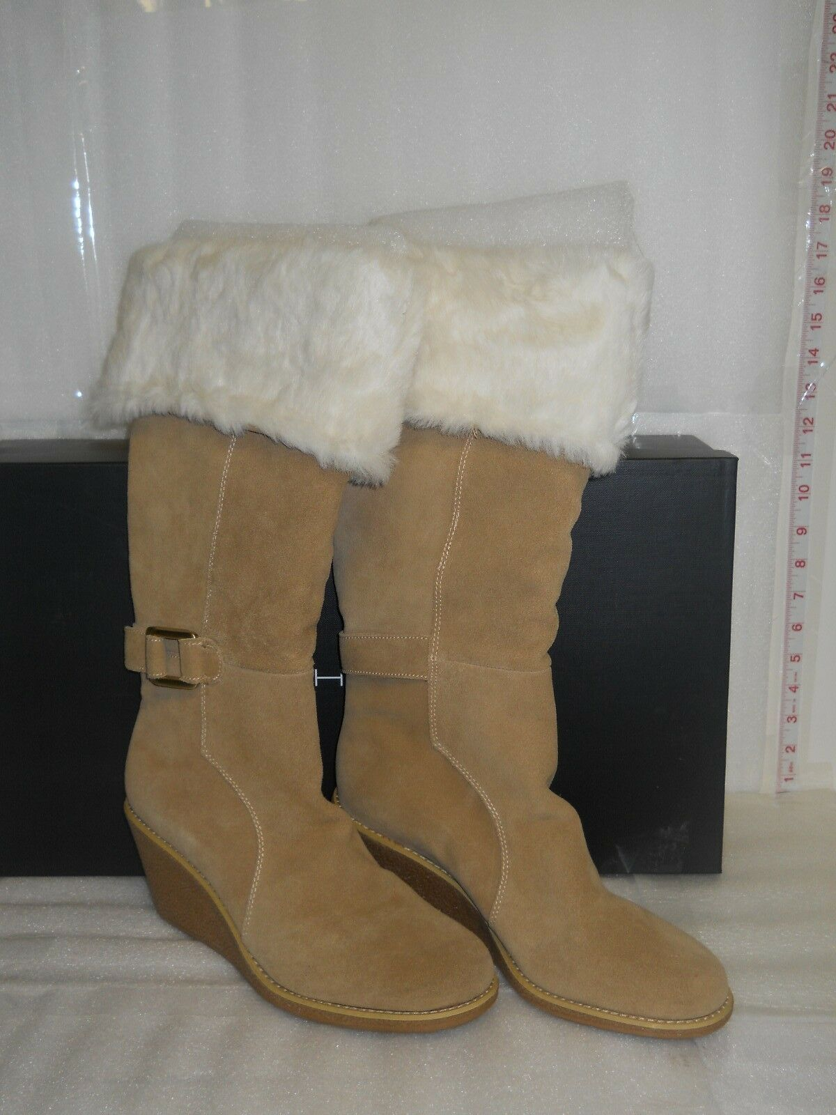 Tahari NEU Damenschuhe Jenny Camel Natural Wedge Leder Faux Fur Stiefel 8 M Schuhes