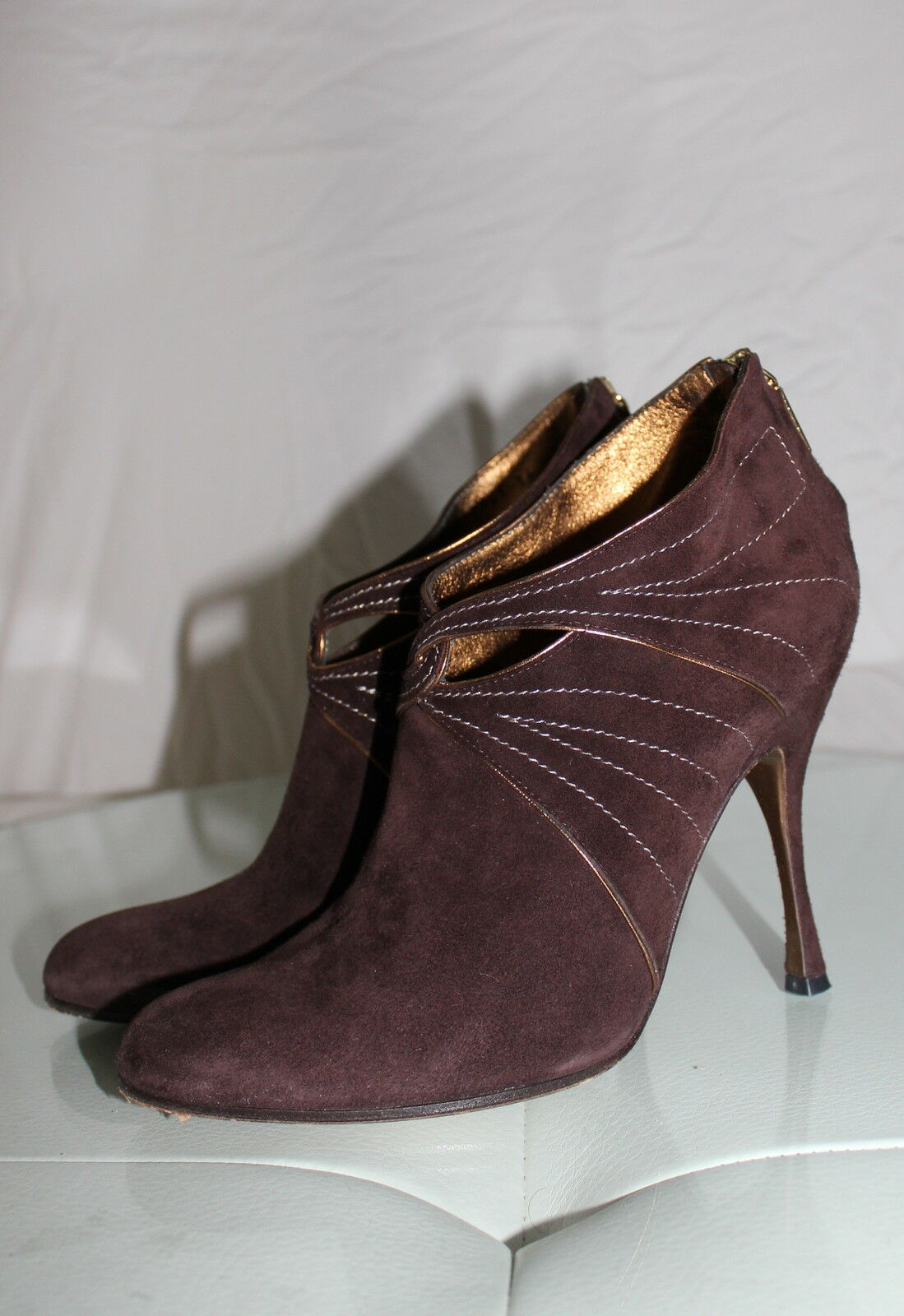 895 DOLCE AND GABBANA BROWN SUEDE LEATHER HEELS ANKLE BOOTIE 36