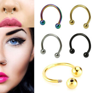 5pcs Fake Nose Hoop Ring Ear Septum Lip Clip On Eyebrow Earrings