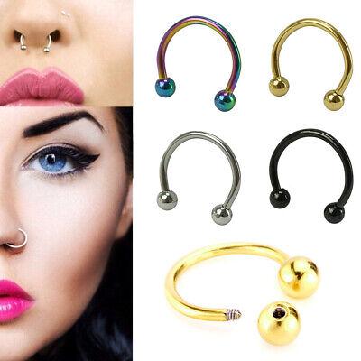 2X Men Women Fake Nose Lips U Ring Ear Clip Hoop Earrings Unisex No Piercing~ oe