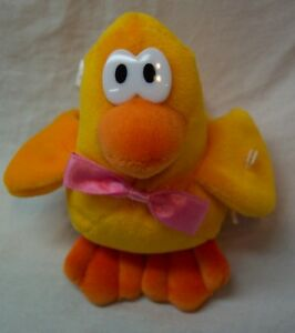 Dan-Dee-CUTE-YELLOW-DUCK-WITH-PINK-BOW-3-034-Bean-Bag-STUFFED-ANIMAL-Toy-Easter