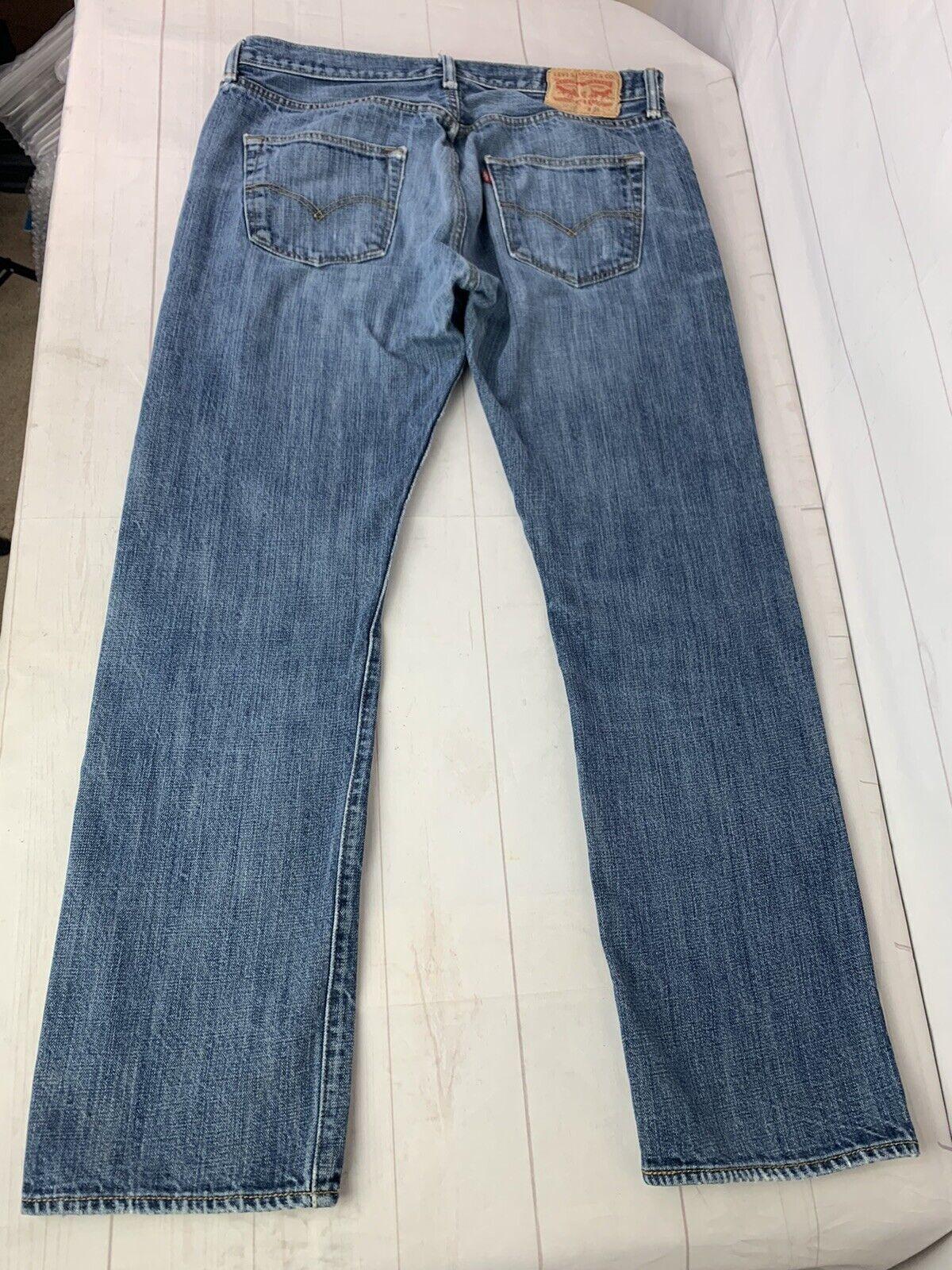 Jeans LEVIS 501 Label Size 34x32 Distressed Blue … - image 8
