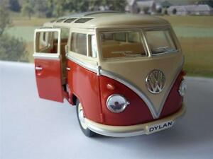 PERSONALISED-PLATE-Gift-Orange-VW-Camper-Van-Bus-17cm-1-24-Boys-Girls-Toy-Model