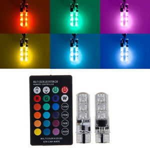 2pcs 6smd t10 rgb voiture led lecture lampe