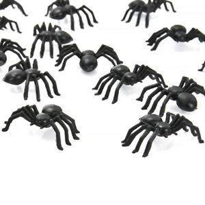 50pcs-Plastic-Small-Fake-Spiders-Halloween-Black-Prank-Bugs-Funny-Toy-Joke-Props