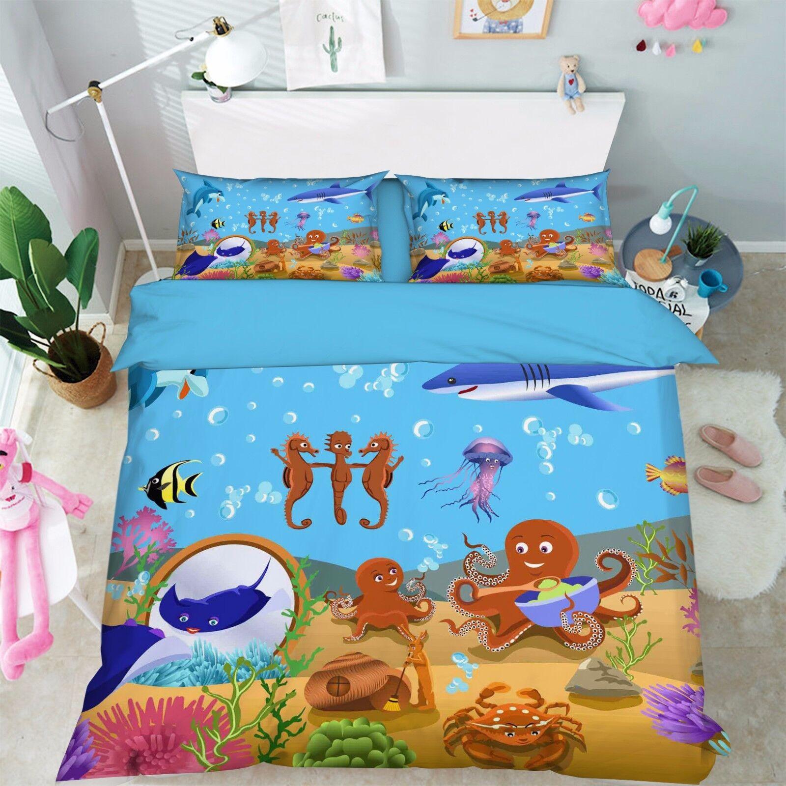 3D mignonne Ocean 04 lit PilFaiblecass courtepointe couette Cover Set Single Queen roi Taille AU