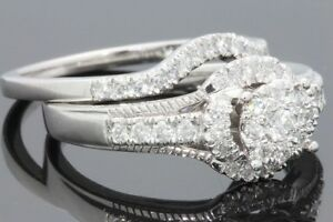 10K-WHITE-GOLD-66-CARAT-WOMENS-REAL-DIAMOND-ENGAGEMENT-RING-WEDDING-BAND-SET