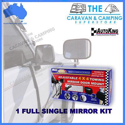 TOWING MIRROR DOOR MOUNTED ADJUSTABLE RATCHET STRAP 4WD CARAVAN CAMPING TRAILER