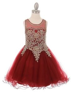 09328413e Image is loading New-Burgundy-Coiled-Lace-Flower-Girls-Dress-Wedding-