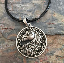 Antique Silver Plt Celtic Horse Pendant Necklace Viking Norse Knot, Equine Gift