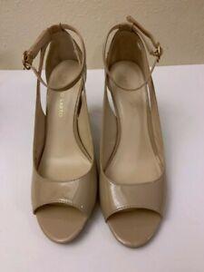 Franco-Sarto-EMMY-Nude-High-Heels-Shoes-Pumps-Peep-Toe-Ankle-Strap-Womens-8-5