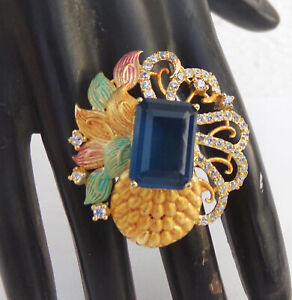 Details about Indian American Diamante Party Golden Fashion Jewelry  Victorian Ring Adjustable