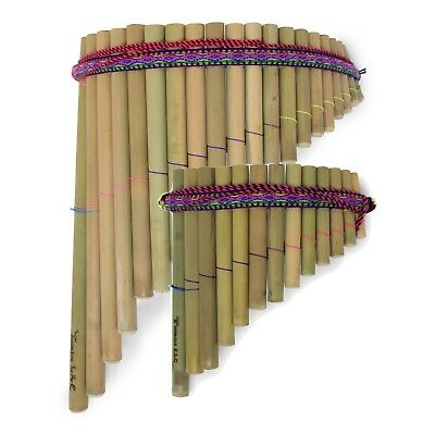 Genuine Large Andean Sisca Curved Pan Pipes// Flute 20 pipes