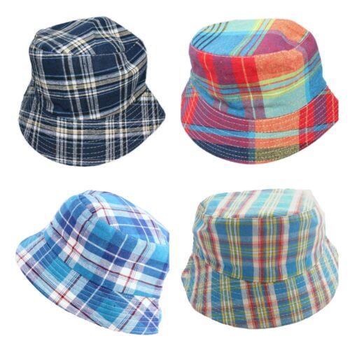 Kids Boys Children Checkered Bucket Sun Hat Age 3 4 5 6 Blue Red Colourful