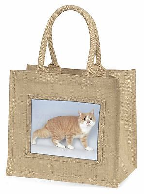 Ingwer+weiß Manx Cat Große Natürliche Jute-einkaufstasche Weihnachten,AC-102BLN