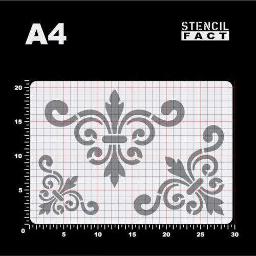 A4 Schablone Eck Ornament Ranke 3 Größen Spiralranke Volute BS466
