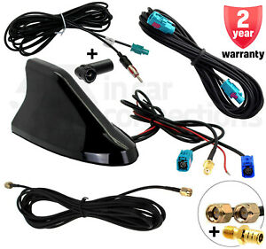 Shark-Fin-car-aerial-DAB-FM-GPS-Roof-Mount-antenna-SMA-SMB-ISO-CT27UV83-Digital
