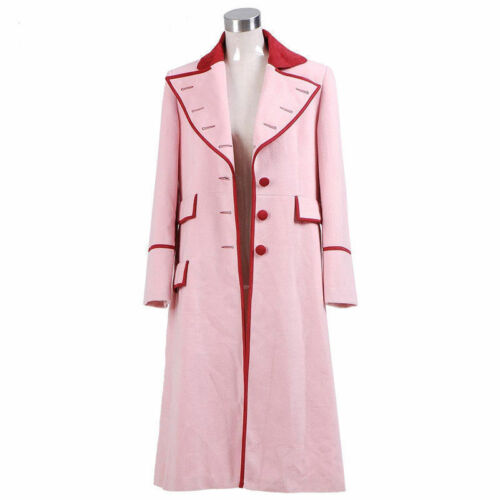 Doctor Who fifth Doctor Romana Long Pink Cashmere Trench Coat Cosplay Costume MM