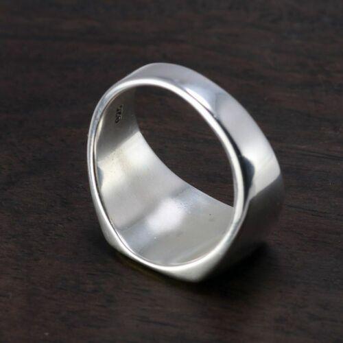 Genuine Sterling Silver Mens Signet OM Rings Simple Smooth Design Trendy Jewelry