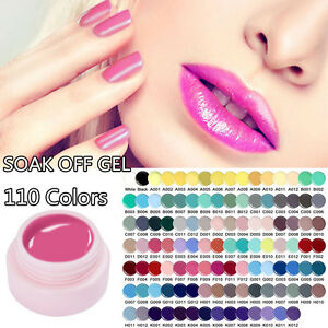 5ml Soak Off Nail Art UV/LED Gel Polish Color Coat Manicure Varnish 110 Colors