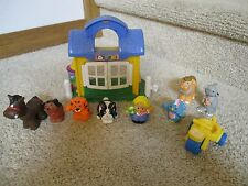 Fisher Price little people Pet Shop City Village lot bird cat dog horse bike toy