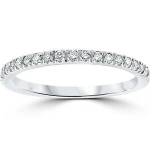 1-3-ct-Pave-Diamond-Wedding-Pave-Ring-Womens-Stackable-Band-14K-White-Gold
