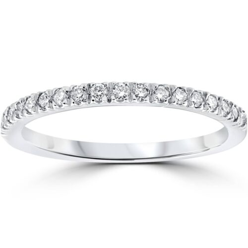 1//3 ct Pave Diamond Wedding Pave Ring Womens Stackable Band 14K White Gold