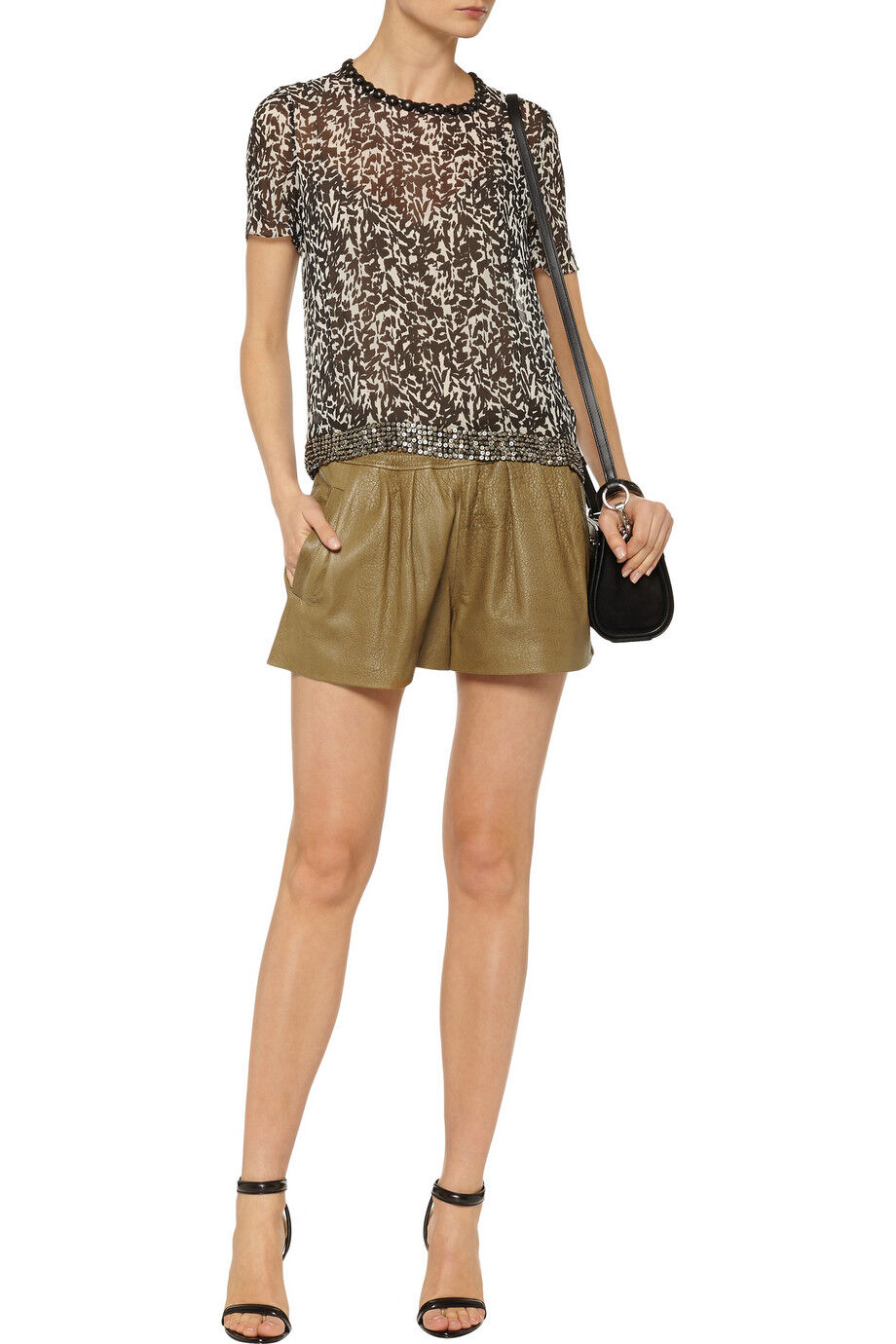 ISABEL MARANT SAND ABON TEXTURED LEATHER SHORTS FR 38