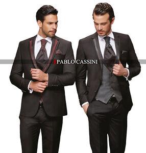 Pablo Cassini Designer Costume pour Homme Noir Bordeaux   Gris de ... 23e6dbb1ec7