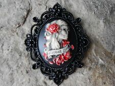 FOREVER LOVE SKELETON WOMAN HAND PAINTED CAMEO PENDANT - BLACK SETTING - ZOMBIE